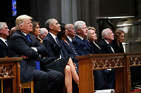 From left, President Donald Trump, first lady Melania Trump, former President Barack Obama, former first lady Michelle Obama, former President Bill Clinton, former Secretary of State Hillary Clinton, and former President Jimmy Carter and former first lady Rosalynn Carter, listen as former President George W. Bush speaks during a State Funeral at the National Cathedral, Wednesday, Dec. 5, 2018, in Washington, for former President George H.W. Bush. <br /> Credit: Alex Brandon / Pool via CNP / MediaPunch