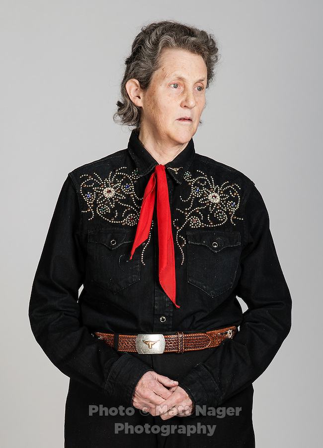 Autism activist and livestock industry consultant Temple Grandin (cq), at the Hilton Hotel in Fort Collins, Colorado, Monday, April 1, 2013. Grandin, who was born with Autism and fights for further understanding the condition, revolutionized the cattle industry bringing new slaughterhouse designs and new methods of animal welfare planning. She is currently a professor at Colorado State University...Photo by Matt Nager