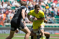 Twickenham, United Kingdom. 3rd June 2018, HSBC London Sevens Series. Game 38 Cup Semi Final. New Zealand vs Australia <br /> <br /> Australian, Lachie ANDERSON, looking to make a pass during Rugby 7's match played at the  RFU Stadium, Twickenham, England, <br /> <br /> <br /> <br /> &copy; Peter SPURRIER/Alamy Live News
