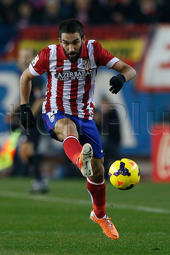 11.01.2014 Madrid, Spain. Atletico de Madrid versus F.C. Barcelona at Vicente Calderon stadium.  Arda Turan (Turkish midfielder of At. Madrid)