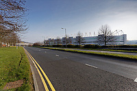 Pictured: The A4067 dual carriageway outside the Liberty Stadium is empty of cars during rush hour in Swansea, Wales, UK. Tuesday 24 March 2020<br /> Re: Covid-19 Coronavirus pandemic, UK.