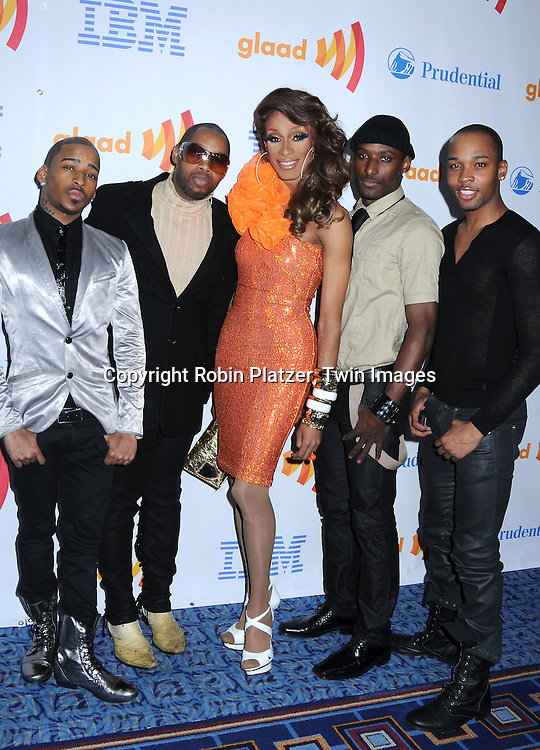 Vogue Evolution and Sahara Davenport posing for photographers at The 21st Annual GLAAD Media Awards on March 13, 2010 at The Marriott Marquis Hotel in New York City. The Honorees wereJoy Behar and Cynthia Nixon.