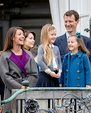 Prince Joachim, Princess Marie, Princess Isabell and Princess Athena of Denmark attend the 77th birthday celebrations of Queen Margrethe at Marselisborg palace in Aarhus, Denmark, 16 April 2017. Photo: Patrick van Katwijk Foto: Patrick van Katwijk/Dutch Photo Press/dpa /MediaPunch ***FOR USA ONLY***