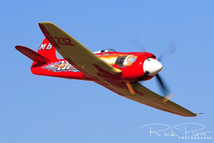 "Owner and pilot Mike Brown flies his highly modified Hawker Sea Fury ""September Fury"" into the Valley of Speed during the 2006 Reno Championship Air Races. September Fury took the 2006 Unlimited Championship with a speed of 481.619 mph over the 67.29 mile course. Photographed 09/06"