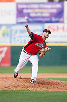 Hickory Crawdads relief pitcher John Fasola (23) in action against the Greensboro Grasshoppers at L.P. Frans Stadium on May 6, 2015 in Hickory, North Carolina.  The Crawdads defeated the Grasshoppers 1-0.  (Brian Westerholt/Four Seam Images)