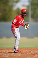 Cincinnati Reds Alfredo Rodriguez (2) during an Instructional League game against the Milwaukee Brewers on October 14, 2016 at the Maryvale Baseball Park Training Complex in Maryvale, Arizona.  (Mike Janes/Four Seam Images)