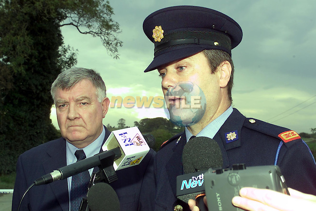 Inspector Ray McHugh from the Garda Press office Speaking to the Waiting media at the Scene of where German Journalist Bettina Poeschel body was found. Also in the Picture is Supt fergus Doggett from Drogheda ..Picture Fran Caffrey Newsfile.