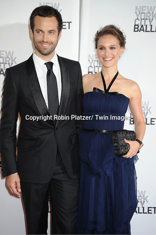 Benjamin Millepied and wife Natalie Portman in a Dior Blue dress attends the New York City Ballet Spring Gala on May 10, 2012 at David Koch Theater in Lincoln Center in New York City.