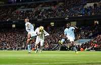 Barclays Premier League, Man City (blue) V Swansea City (white) Etihad Stadium, 27/10812<br /> Pictured: Michu looked a real threat for Swansea this header was one of his best chances of the game <br /> Picture by: Ben Wyeth / Athena Picture Agency