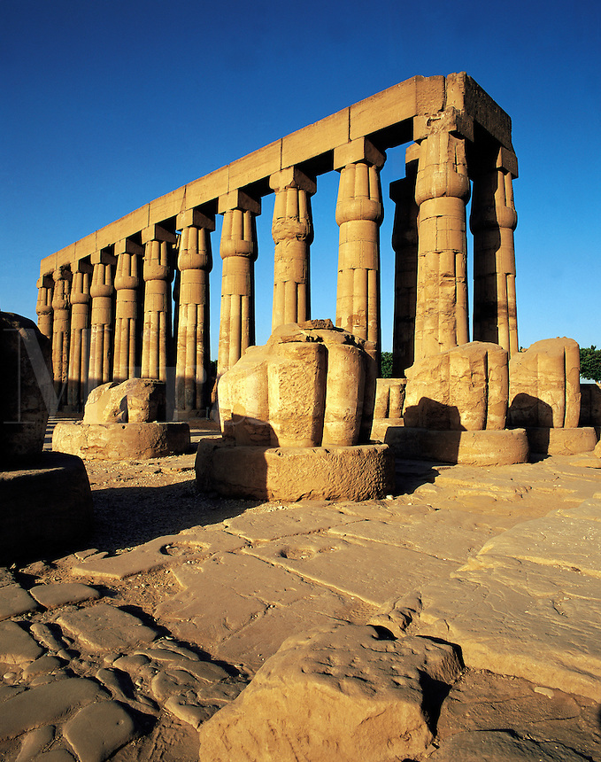 Early morning light on the colonnade of stone pillars at Luxor temple, Egypt
