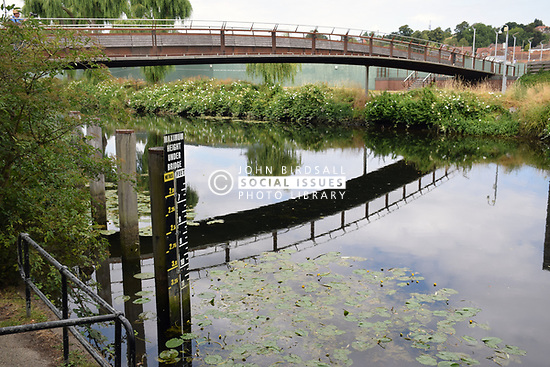 River Wensum, Norwich - maximum height under bridge sign to warn boats. UK. Peter's Bridge