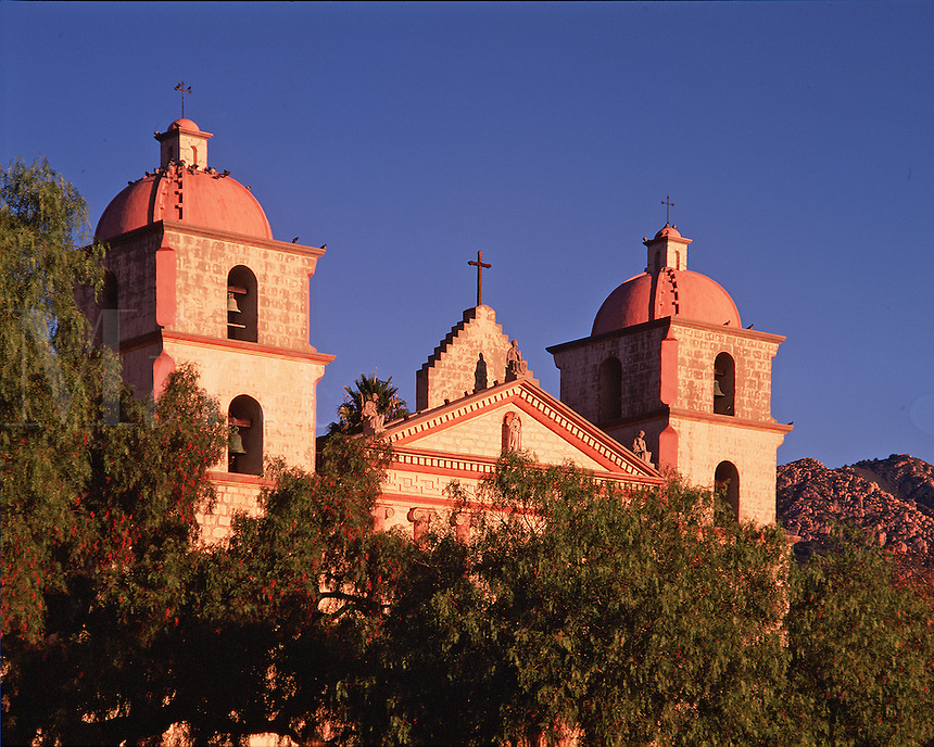 Exterior view of the Mission Santa Barbara 'Queen of the Missions'. Santa Barbara, California.