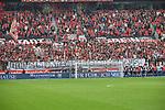 14.04.2018, BayArena, Leverkusen , GER, 1.FBL., Bayer 04 Leverkusen vs. Eintracht Frankfurt<br /> im Bild / picture shows: <br /> die Leverkusener Fans haben schon mal ein Banner f&uuml;r Dienstag Pokal Halbfinale gegen Bayern zieht den Bayern die Lederhose aus.. <br /> <br /> <br /> Foto &copy; nordphoto / Meuter