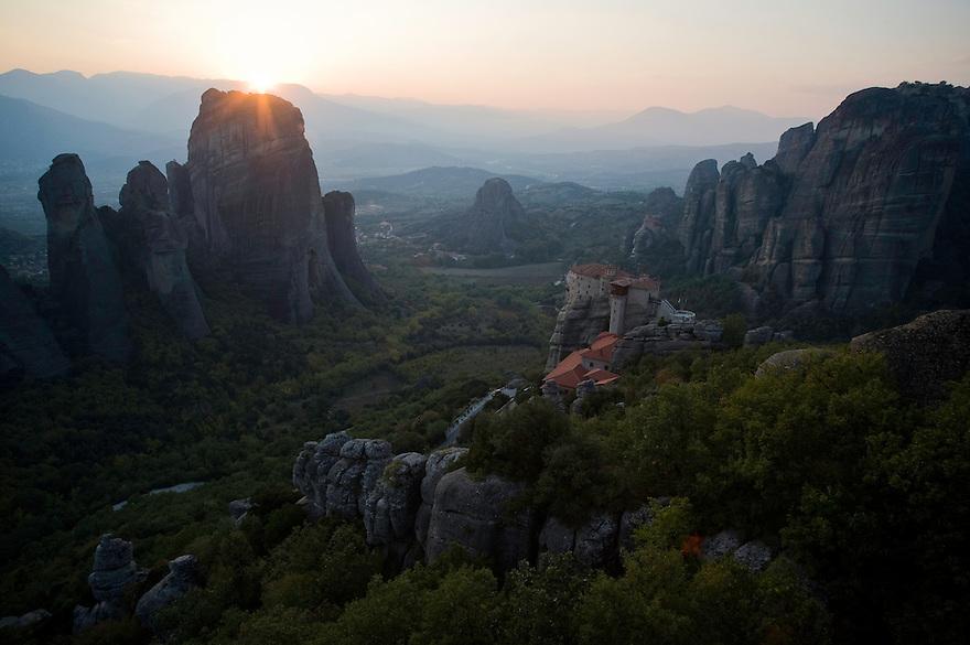 Greece, Meteora, Roussanou Monastery in sunset