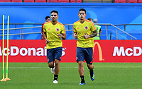 KAZAN - RUSIA, 23-06-2018: Radamel FALCAO y James RODRIGUEZ jugadores de Colombia, durante entrenamiento en Kazan Arena previo al encuentro del Grupo previo al encuentro del grupo H  con Polonia como parte de la Copa Mundo FIFA 2018 Rusia. / Radamel FALCAO and James RODRIGUEZ players of Colombia during training session in KazanArena prior the group H match with Poland as part of the 2018 FIFA World Cup Russia. Photo: VizzorImage / Julian Medina / Cont