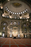 Worshippers praying at the Suleymaniye Mosque, Istanbul