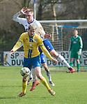 15.04.2018, 53acht Arena, Oldenburg, GER, Regionalliga Nord, SSV Jeddeloh vs Eintracht Braunschweig II (U23), im Bild<br /> im R&uuml;cken /Ruecken ...<br /> Michl Leon HAHN (SSV Jeddeloh #6 )<br /> Eric VEIGA (Eintracht Braunschweig II U23 #17)<br /> <br /> Foto &copy; nordphoto / Rojahn