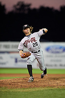 Tri-City ValleyCats relief pitcher Ben Smith (26) delivers a pitch during a game against the Batavia Muckdogs on July 15, 2017 at Dwyer Stadium in Batavia, New York.  Tri-City defeated Batavia 5-4.  (Mike Janes/Four Seam Images)