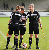 20200226 Kalmthout, BELGIUM : Second referee Jana Van Laere (left), match referee Hannelore Onsea and first assistan referee Shauni Depruyst (right) do the three way handshake before  the international friendly soccer match between the national youth Women Under 17 teams of Belgium and the Netherlands, a friendly game in preparation for the UEFA Elite rounds in March in Belgium for the Belgian team, Wednesday 26th of February 2020 at Sportpark Heikant in Kalmthout, BELGIUM. PHOTO: SPORTPIX.BE | Sevil Oktem