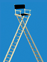 Tall director's chair with broken rungs