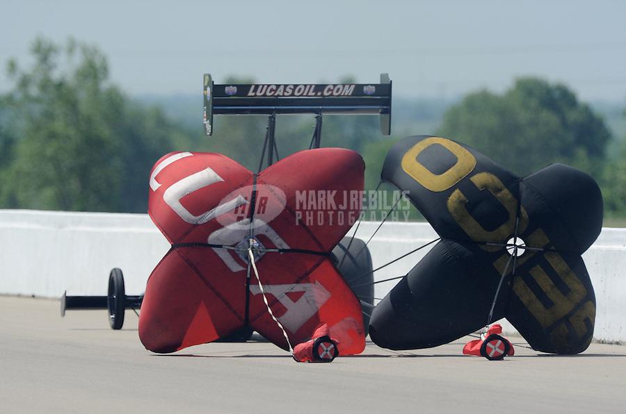 May 22, 2011; Topeka, KS, USA: NHRA top fuel dragster driver Morgan Lucas during the Summer Nationals at Heartland Park Topeka. Mandatory Credit: Mark J. Rebilas-