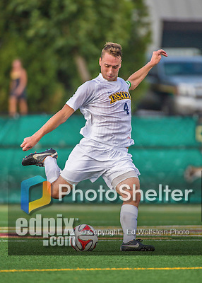 5 September 2014: La Salle University Explorers Midfielder/Defender Joe Farrell, a Junior from Blue Bell, PA, in action against the University of Vermont Catamounts at Virtue Field in Burlington, Vermont. The Catamounts, playing a man down for 66 minutes, defeated the visiting Explorers 2-1 on the first day of the Morgan Stanley Windjammer Classic Men's Soccer Tournament. Mandatory Credit: Ed Wolfstein Photo *** RAW (NEF) Image File Available ***