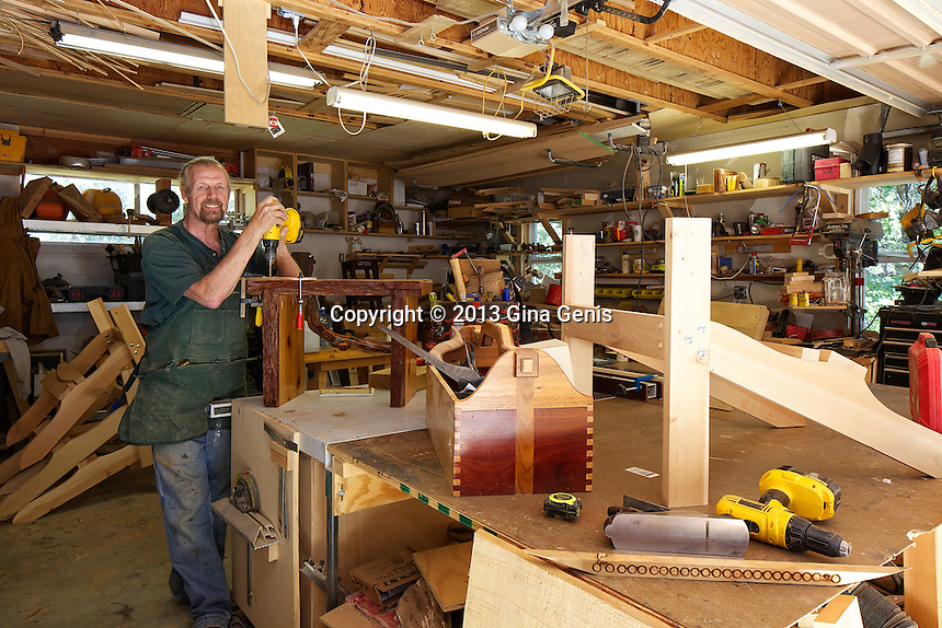 Martin Jones in his wood working studio