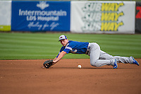 Corey Seager (18) of the Oklahoma City Dodgers on defense against the Salt Lake Bees in Pacific Coast League action at Smith's Ballpark on May 25, 2015 in Salt Lake City, Utah.  (Stephen Smith/Four Seam Images)