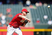 Apr. 18, 2012; Phoenix, AZ, USA; Arizona Diamondbacks pitcher Daniel Hudson throws in the fifth inning against the Pittsburgh Pirates at Chase Field. Mandatory Credit: Mark J. Rebilas-