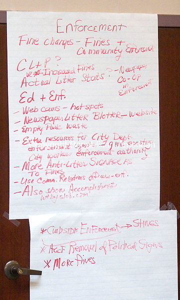 WATERBURY, CT- 14 APRIL 2007-041407JW07.jpg -- A list of possible enforcement solutions to the city of Waterbury's litter problem during a litter summit at the Waterbury Regional Chamber Saturday morning. Jonathan Wilcox Republican-American