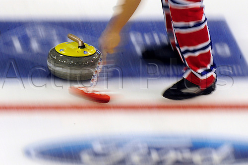 04.04.2012 Basel, Switzerland.  in action during day five of the Mens World Curling Championships from St Jakobshalle.