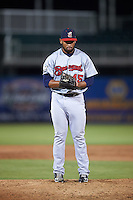 Brevard County Manatees relief pitcher Junior Rincon (45) gets ready to deliver a pitch during a game against the Fort Myers Miracle on April 13, 2016 at Hammond Stadium in Fort Myers, Florida.  Fort Myers defeated Brevard County 3-0.  (Mike Janes/Four Seam Images)