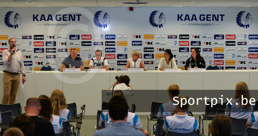 20150821 - GENT, BELGIUM: Gent's press conference pictured during a press conference about the start of the new Super League season of the women's team KAA Gent Ladies , Friday 21 August 2015 , in Gent. PHOTO DAVID CATRY