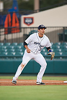Lakeland Flying Tigers first baseman Danny Pinero (22) during the second game of a doubleheader against the Bradenton Marauders on April 11, 2018 at Publix Field at Joker Marchant Stadium in Lakeland, Florida.  Bradenton defeated Lakeland 1-0.  (Mike Janes/Four Seam Images)