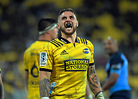 Hurricanes' TJ Perenara watches a replay during the Super Rugby quarterfinal between the Hurricanes and Bulls at Westpac Stadium in Wellington, New Zealand on Saturday, 22 June 2019. Photo: Dave Lintott / lintottphoto.co.nz