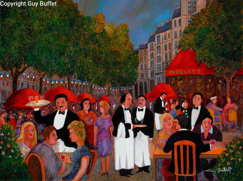 &quot;Bastille Day on the Champs Elysees&quot; Paris<br /> Limited Edition Giclee 20x26.5<br /> SN Canvas $850.<br /> AP Paper w/Original Watercolor Remarque $1,975.<br /> Classic French Guy Buffet waiters draw you right into the street cafe, with the famous &quot;Fouquets&quot; restaurant on the corner!<br /> *ORIGINAL AVAILABLE*