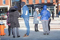 Campaign volunteers collect people's contact information before Democratic presidential candidate and Massachusetts senator Elizabeth Warren files paperwork to get on the primary ballot at the NH State House in Concord, New Hampshire, on Wed., November 13, 2019. Warren also held a small rally outside the State House after filing her paperwork.