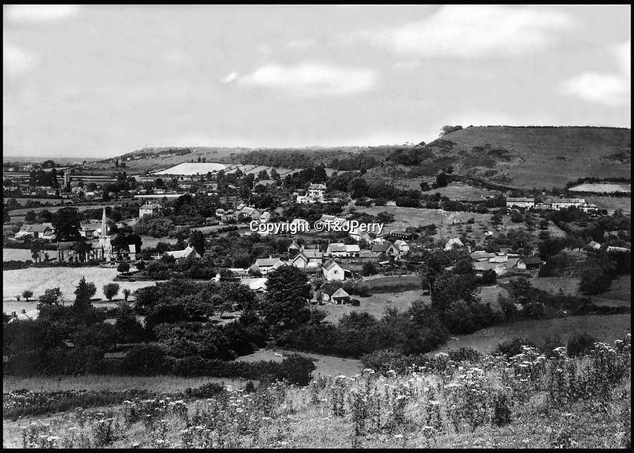 BNPS.co.uk (01202 558833)<br /> Pic: T&JPerry/BNPS<br /> <br /> View over the village from 1948.<br /> <br /> View across the little changed Somerset village of Chiselborough whoose residents have pieced together their history in photographs.<br /> <br /> A rural village's community has painstakingly put together its social history over the last 40 years, which is now going on display.<br /> <br /> Tony and June Perry first started collecting images of Chiselborough, in south Somerset, 40 years ago for the project which celebrates the village's people, traditions and buildings.<br /> <br /> Dozens of villagers have helped the couple compile 600 photos which are finally going to be shown in a new exhibition.<br /> <br /> The images, which date back to the 1860s, highlight many notable events in Chiselborough's history including the fire of 1890 which saw the pub burn down.<br /> <br /> Other photos show the silver jubilee party of 1935, a school fancy dress day in 1954 and the renovation of the village's 12th century church in 1971.<br /> <br /> Situated on the River Parrett, Chiselborough is five miles west of Yeovil and has a population of just 275 people.