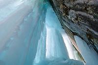 Giant blue columns of ice along the Grand Island shoreline on Lake Superior. Munising, MI