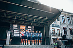 Trek-Segafredo Women at sign on before the start of La Fl&egrave;che Wallonne Femmes 2019, running 118.5km from Huy to Huy, Belgium. 24th April 2019<br /> Picture: ASO/Thomas Maheux | Cyclefile<br /> All photos usage must carry mandatory copyright credit (&copy; Cyclefile | ASO/Thomas Maheux)