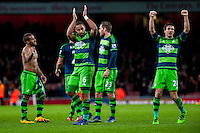 Ashley Williams of Swansea City Celebrates with team mates after the final of the the Barclays Premier League match between Arsenal and Swansea City at the Emirates Stadium, London, UK, Wednesday 02 March 2016<br /> <br /> Alan Curtis, First-team coach of Swansea City