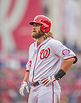 4 April 2014: Washington Nationals right fielder Jayson Werth stands at first in the 8th inning against the Atlanta Braves during the Nationals Home Opening Game at Nationals Park in Washington, DC. The Braves edged out the Nationals 2-1 in their first meeting of the 2014 MLB season. Mandatory Credit: Ed Wolfstein Photo *** RAW (NEF) Image File Available ***