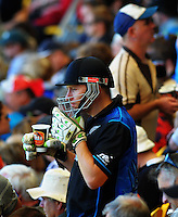 A kitted-up fan in the grandstand during the ICC Cricket World Cup one day pool match between the New Zealand Black Caps and England at Wellington Regional Stadium, Wellington, New Zealand on Friday, 20 February 2015. Photo: Dave Lintott / lintottphoto.co.nz