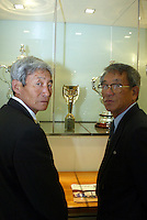 2 MEMEBERS OF THE NORTH KOREAN WORLD CUP TEAM OF 1966 IN FRONT OF THE 66 WORLD CUP((HERO AND SCORER VS ITALY PAK DO IK ON THE RIGHT)- PICTURE  BY MARCELLO POZZETTI FOR THE TIMES NEWSPAPERS- MARCELLO POZZETTI 21 DELISLE ROAD LONDON SE28 0JD=TEL 02088551008 - FAX: 02088551937 - MOBILE 07973308835