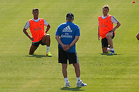 Players, Cristiano Ronaldo and Illarramendi, in front of Ancelotti during Real Madrid´s first training session of 2013-14 seson. July 15, 2013. (ALTERPHOTOS/Victor Blanco) ©NortePhoto