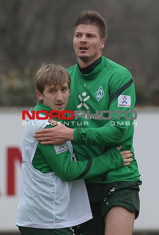 02.03.2012, Trainingsgelaende, Bremen, GER, 1.FBL, Training Werder Bremen, im Bild Marko Marin (Bremen #10), Sebastian Pr&ouml;dl / Proedl (Bremen #15)<br /> <br /> // during training session of Werder Bremen on 2012/03/02, Trainingsgelaende, Bremen, Germany.<br /> Foto &copy; nph / Frisch *** Local Caption ***