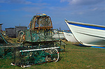 AE2KP4 Lobster pots boats Sizewell beach Suffolk England
