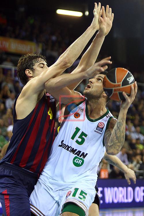 Euroleague Basketball-Regular Season Round 5.<br /> FC Barcelona vs Panathinaikos Athens: 78-69.<br /> Ante Tomic vs Esteban Batista.