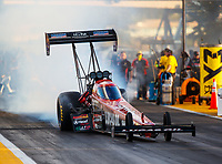 Sep 29, 2017; Madison , IL, USA; NHRA top fuel driver Chris Karamesines during qualifying for the Midwest Nationals at Gateway Motorsports Park. Mandatory Credit: Mark J. Rebilas-USA TODAY Sports