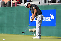 Hideto Tanihara (JPN) putts on the 18th green during Saturday's Round 3 of the 2018 Omega European Masters, held at the Golf Club Crans-Sur-Sierre, Crans Montana, Switzerland. 8th September 2018.<br /> Picture: Eoin Clarke | Golffile<br /> <br /> <br /> All photos usage must carry mandatory copyright credit (&copy; Golffile | Eoin Clarke)